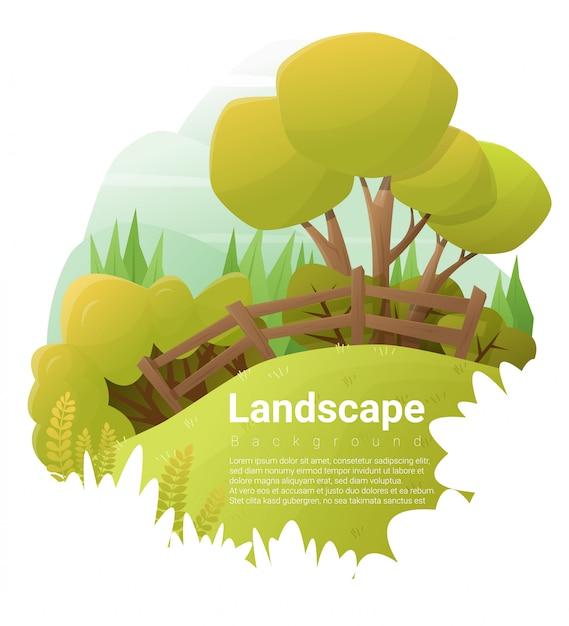 Fundo verde da paisagem Vetor Premium