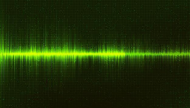 Fundo verde digital sound wave Vetor Premium