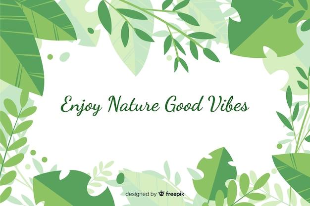 Fundo verde natureza com citação Vetor grátis