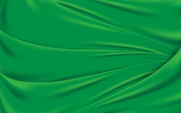Fundo verde ondulado da textura da tela de seda. ilustração vetorial Vetor Premium