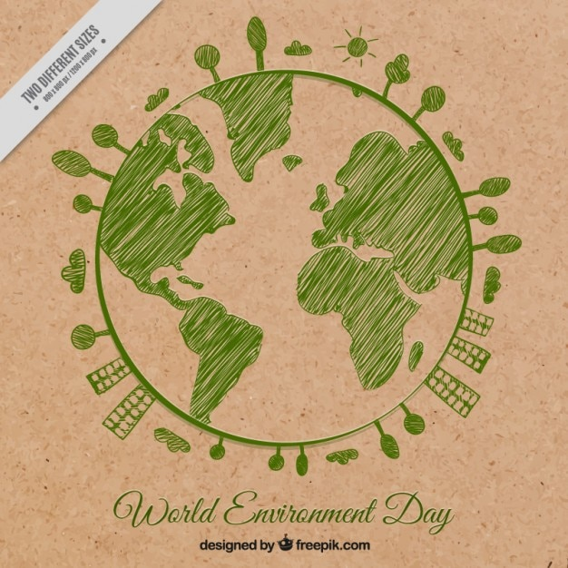 Fundo verde planeta terra esboçado Vetor grátis