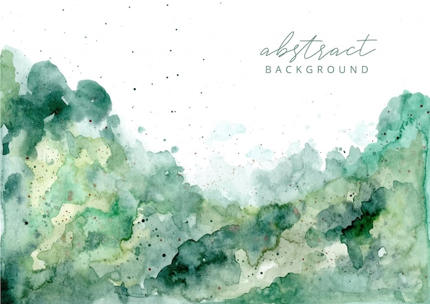 Fundo verde textura aquarela abstrata Vetor Premium