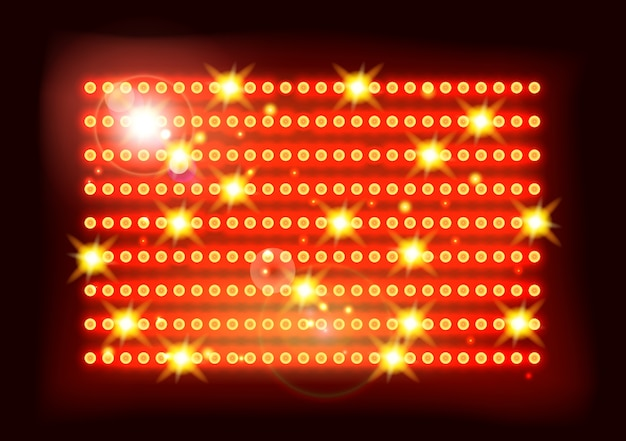 Fundo vermelho amarelo do estádio dos esportes de fase das luzes de piscamento Vetor Premium