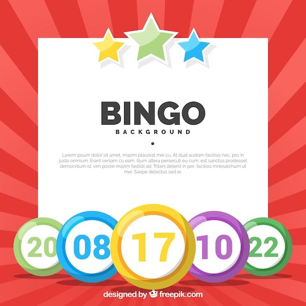 Fundo vermelho com bolas de bingo coloridas Vetor grátis