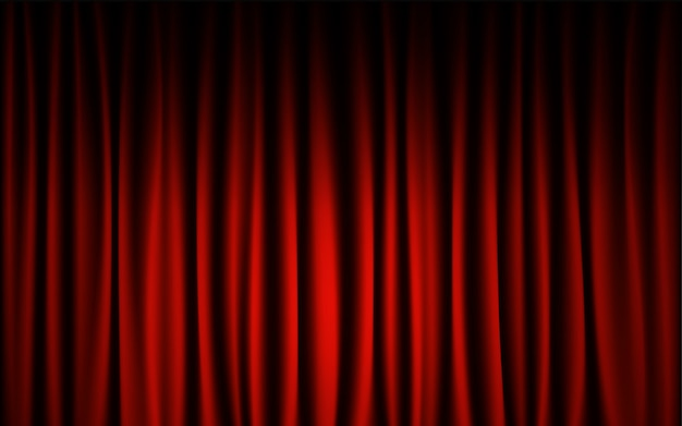 Fundo vermelho da mostra de concerto da fase da cortina. resumo e conceito de papel de parede de fundo. Vetor Premium