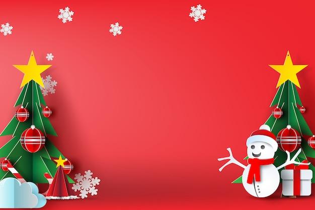 Fundo vermelho de feliz natal Vetor Premium