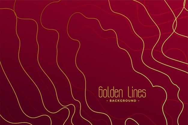 Fundo vermelho de luxo com linhas de contorno douradas Vetor grátis