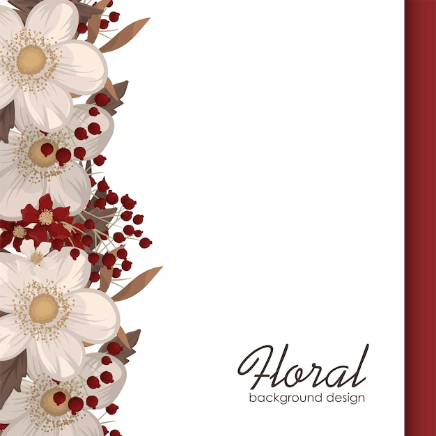 Fundo vermelho flor flores vermelhas e brancas Vetor grátis