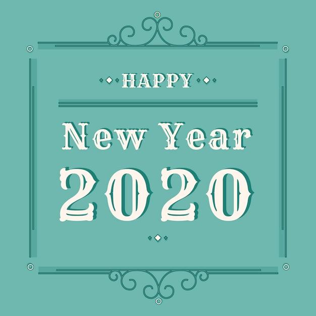 Fundo vintage ano novo 2020 Vetor grátis