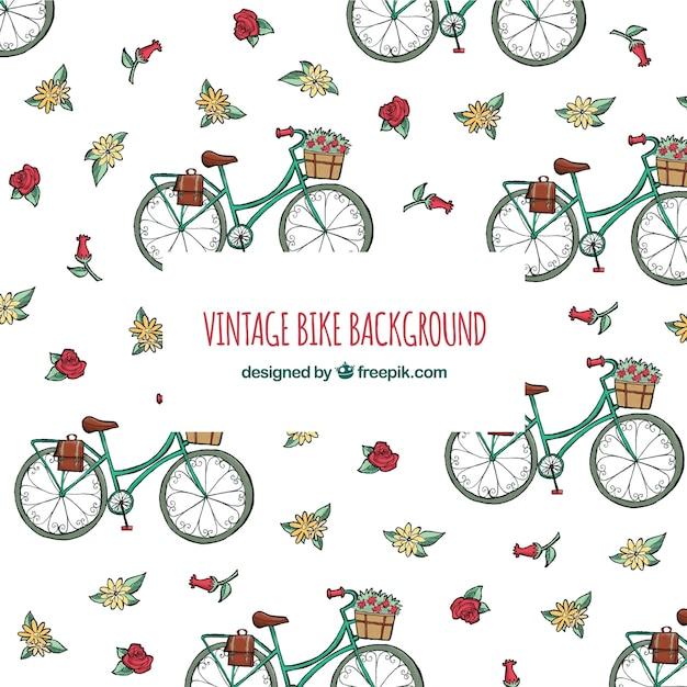 Fundo vintage com bicicletas e flores Vetor grátis