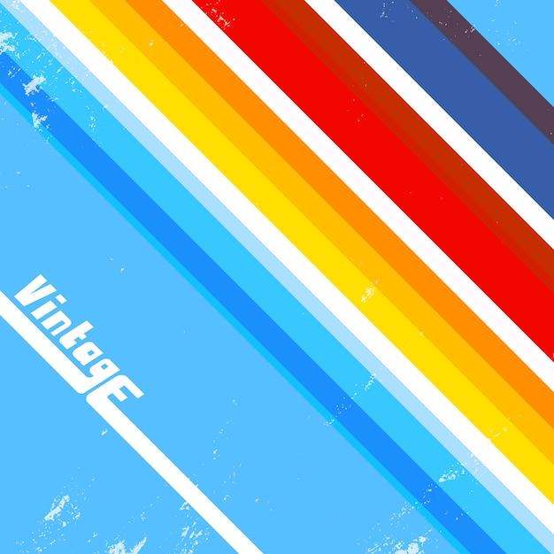 Fundo vintage com linhas coloridas Vetor Premium