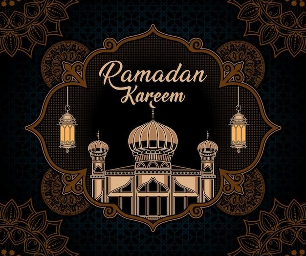 Fundo vintage ramadan kareem Vetor Premium