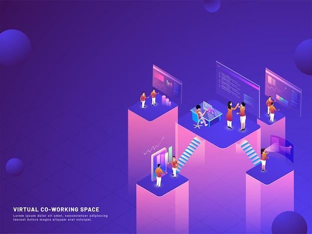 Fundo virtual de co-trabalho. Vetor Premium