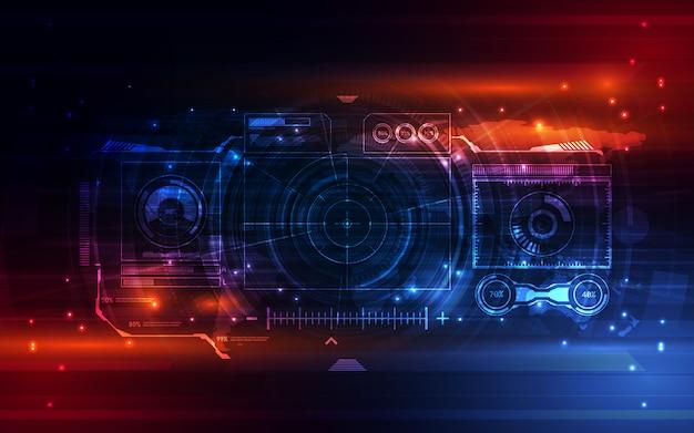 Fundo virtual do sistema futurista abstrato da tela Vetor Premium