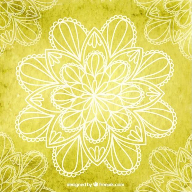Fundo yoga amarelo com flores Vetor Premium