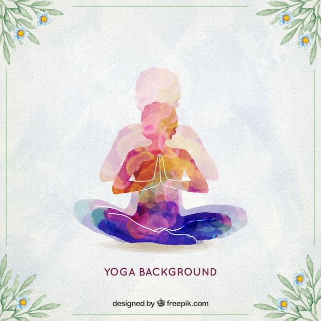 Fundo yoga watercolor Vetor grátis