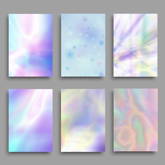Fundos coloridos pastel do holograma ajustados. Vetor Premium