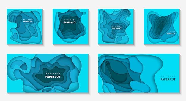 Fundos com formas de corte de papel de cor azul profundo Vetor Premium