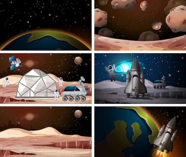 Fundos de cena do espaço diferente Vetor grátis
