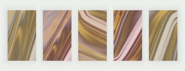 Fundos de mármore líquido com glitter dourado rosa e marrom para redes sociais Vetor Premium