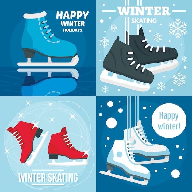 Fundos de patinação no inverno de férias Vetor Premium