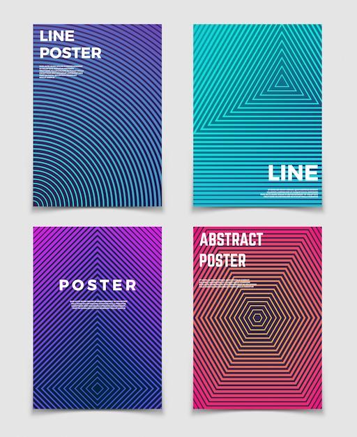 Fundos geométricos abstratos do vetor com testes padrões de linha. design moderno e minimalista para cartazes e capas de livros Vetor Premium