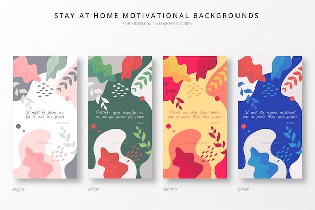 Fundos motivacionais coloridos em casa em quatro idiomas Vetor grátis