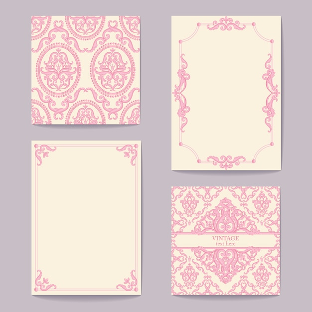 Fundos reais barrocos abstratos em rosa e branco Vetor Premium