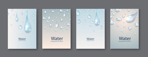 Fundos transparentes das gotas da água abstrata. Vetor Premium