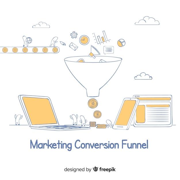 Funil de conversão de marketing Vetor grátis