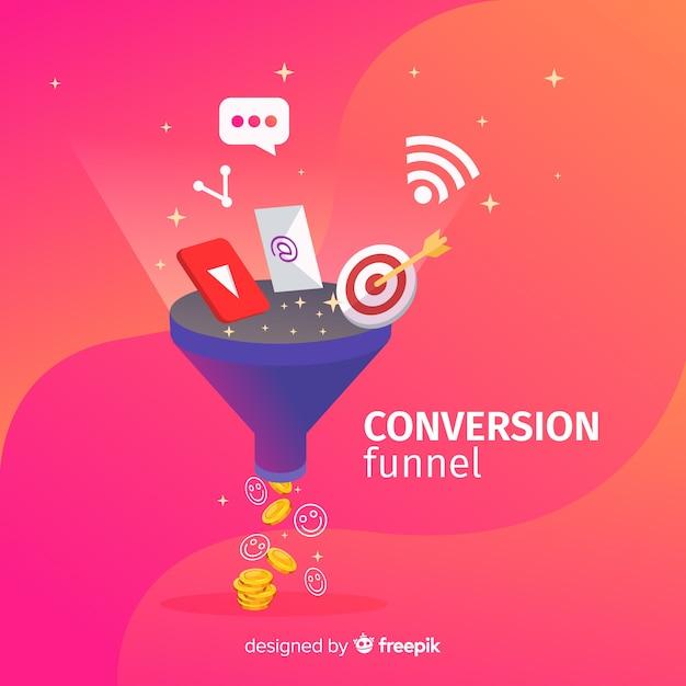 Funil de conversão de marketing Vetor Premium