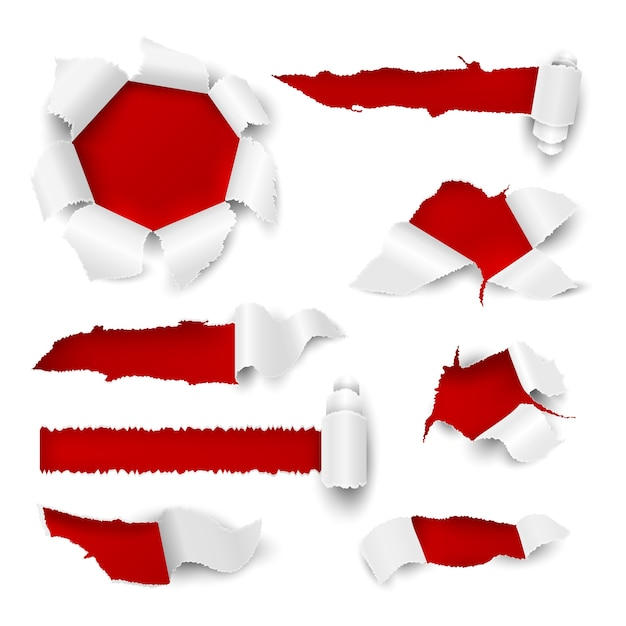 Furo de papel. borda rasgada realista rasgo folha branca etiqueta venda tag furos de papelão promocionais rolar página. loch ripped scroll elements Vetor Premium