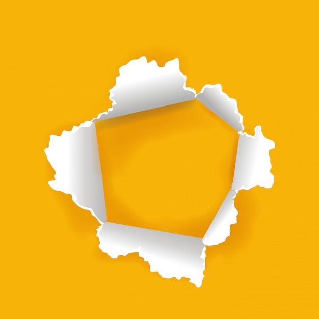Furo de papel inovador com fundo amarelo Vetor Premium