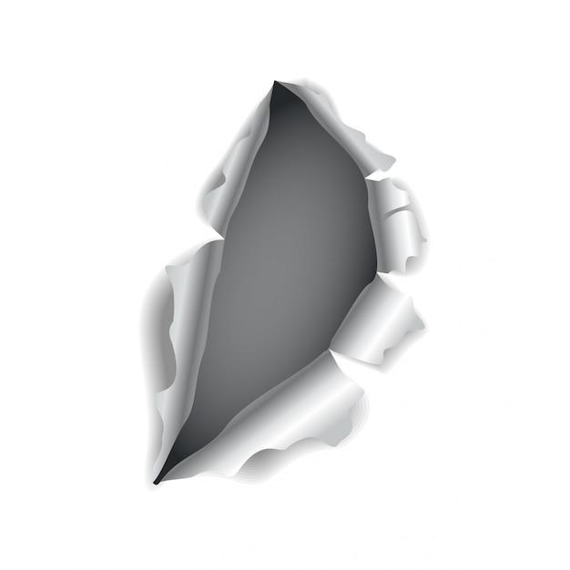 Furo do papel. papel realista vector rasgado com bordas rasgadas. furo rasgado na folha de papel. ilustração vetorial Vetor Premium