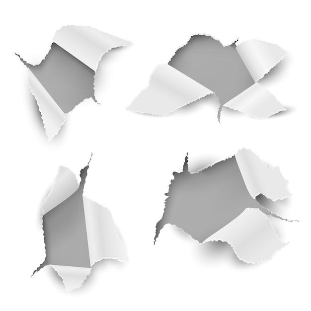 Furos de papel. ragged rasgado folha realista rasgado etiqueta da etiqueta cartão de buraco de bala borda rip promocional. conjunto de orifícios para mensagens de texto em branco Vetor Premium