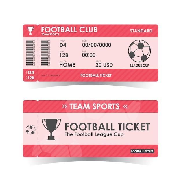 Futebol, bilhete de futebol, orientações Vetor Premium