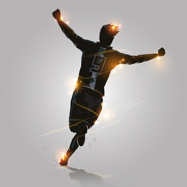 Futebol comemorar correndo Vetor Premium