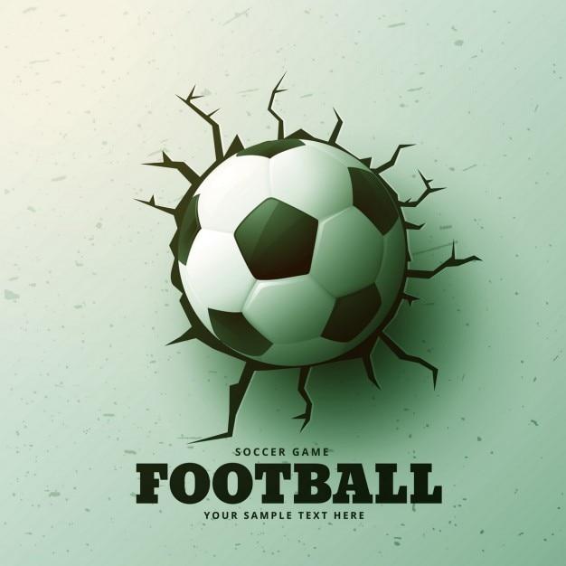 futebol de bater na parede com rachaduras fundo Vetor grátis