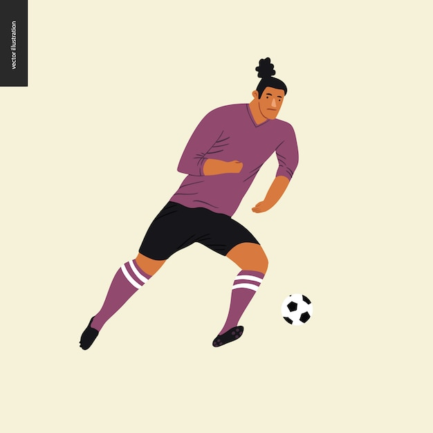 Futebol europeu, jogador de futebol chutando uma bola de futebol Vetor Premium