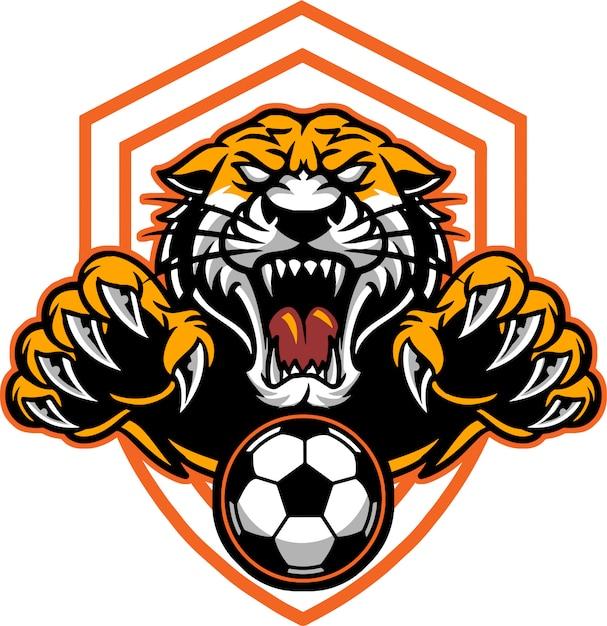 Futebol tigre Vetor Premium