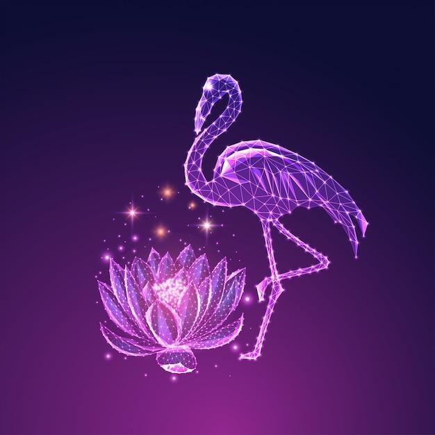 Futurista brilhante baixo poligonal lindo pé flamingo e flor de lótus isolada em azul escuro para fundo roxo. Vetor Premium