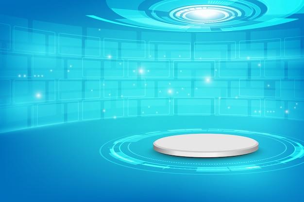 Futurista, interior, com, vazio, fase, modernos, futuro, fundo tecnologia, sci-fi, olá, tecnologia, conceito, Vetor Premium