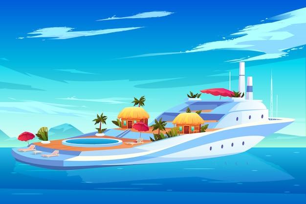 Futuro iate, navio de cruzeiro ou forro, hotel flutuante de luxo com piscina, casas de bungalow Vetor grátis