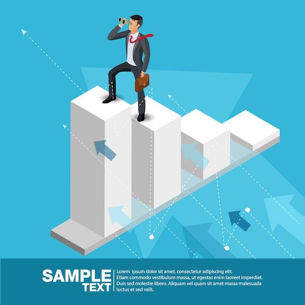 Futuro líder de negócios conceito finanças gerente de negócios Vetor Premium
