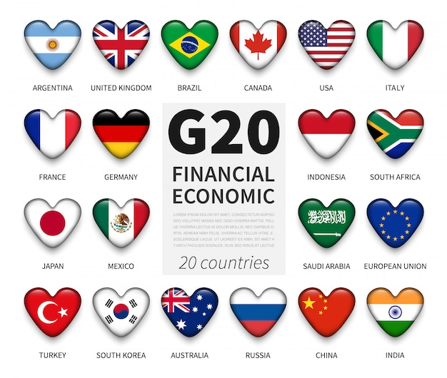 G20 grupo de vinte países e bandeira de associação. associação internacional de governo econômico e financeiro Vetor Premium