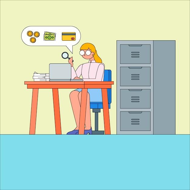 Gabinete de carácter contabilista Vetor Premium