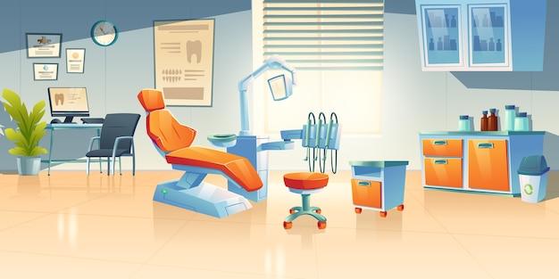 Gabinete de dentista, sala de estomatologia em clínica ou hospital Vetor grátis