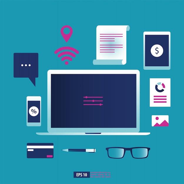 Gadget de negócios, smartphone, laptop e tablet com elemento de papelaria de escritório. Vetor Premium