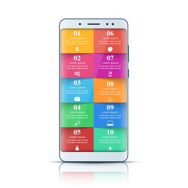 Gadget digital, smartphone. infográfico de negócios Vetor Premium