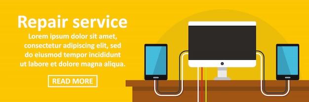 Gadget repair service banner template conceito horizontal Vetor Premium